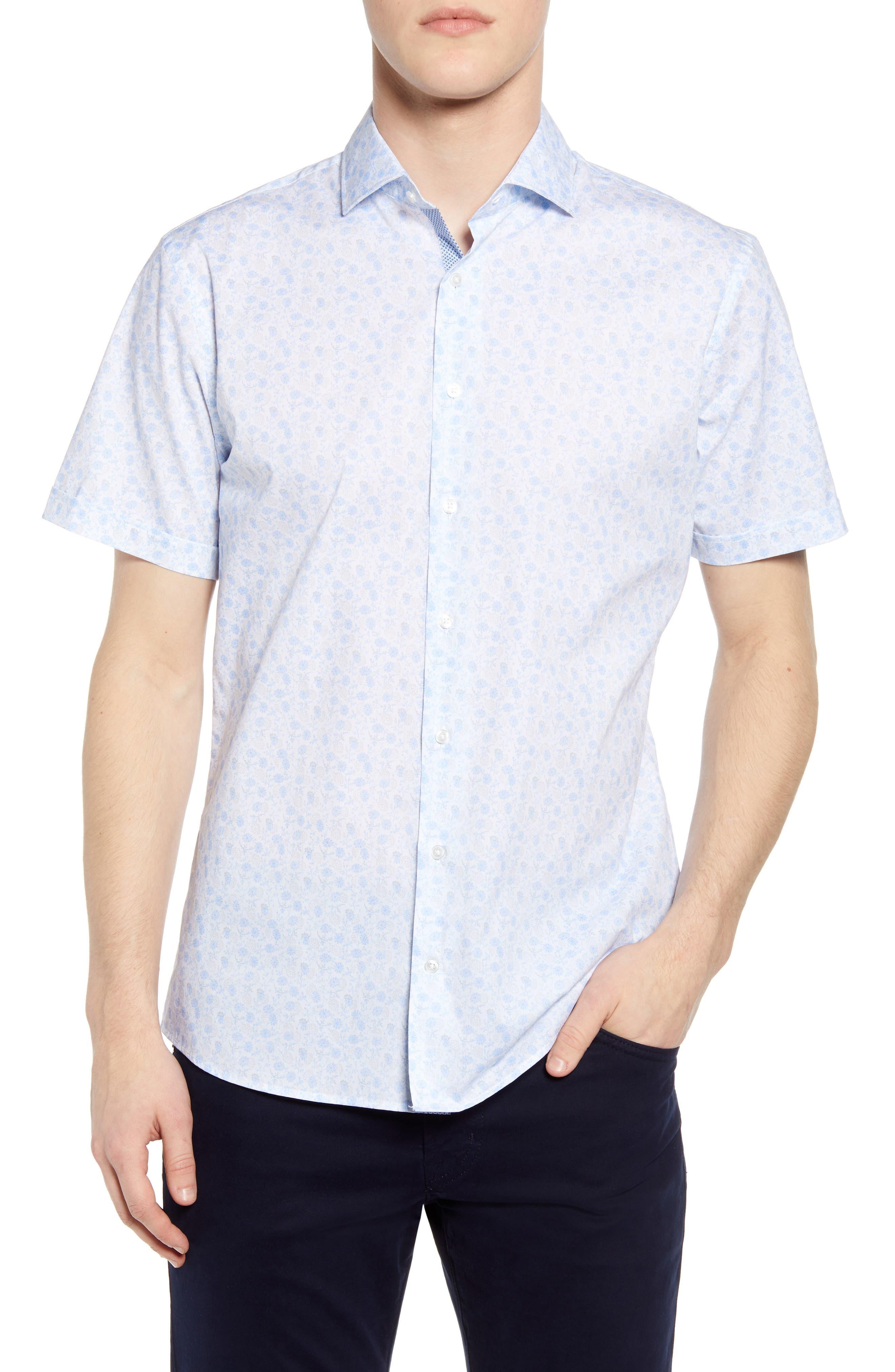 Kelly Hi-Flex Modern Fit Floral Short Sleeve Button-Up Shirt