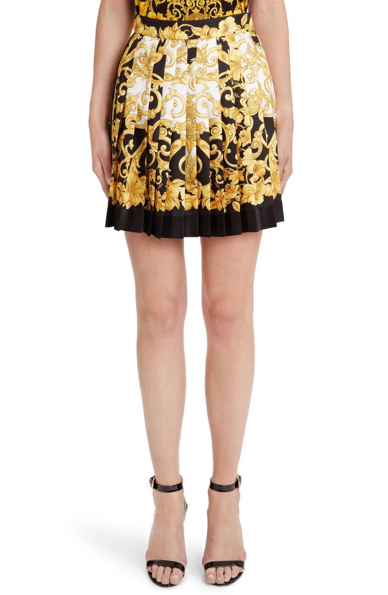 VERSACE Hibiscus Print Pleated Silk Skirt, Main, color, BLACK PRINT