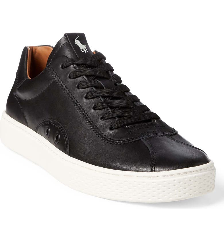 POLO RALPH LAUREN Court 100 LUX Sneaker, Main, color, BLACK LEATHER