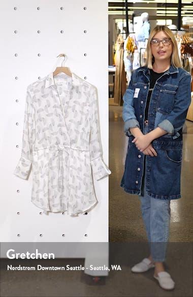Isobel Print Silk Long Sleeve Shirtdress, sales video thumbnail