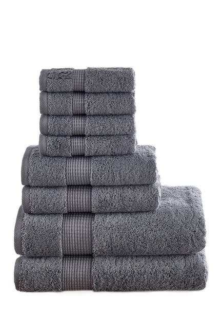 Image of Modern Threads Manor Ridge Turkish Cotton 700 GSM 8-Piece Towel Set - Charcoal