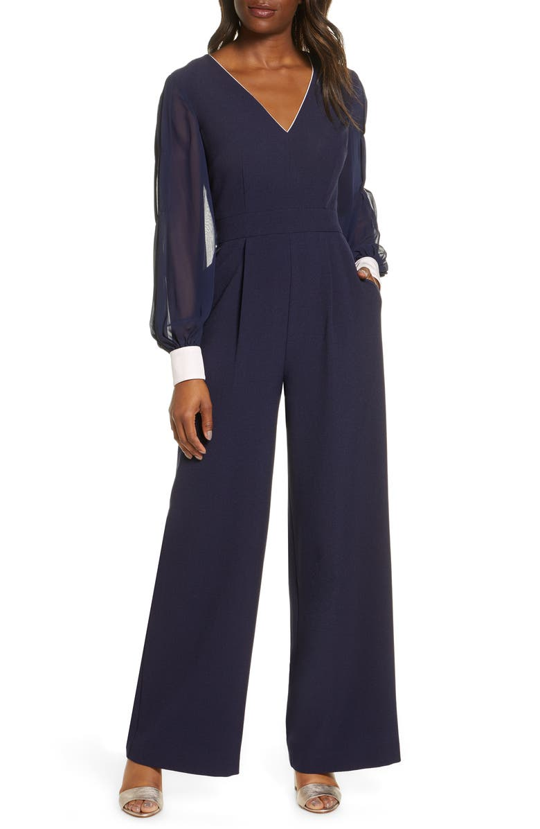 HARPER ROSE Long Sleeve Crepe & Georgette Jumpsuit, Main, color, 410