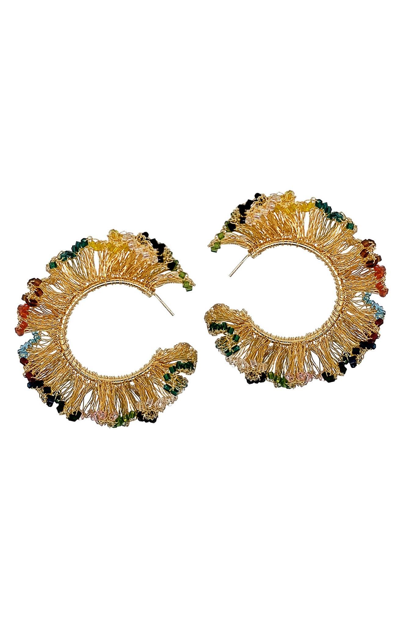 Large Ruffle Hoop Earrings