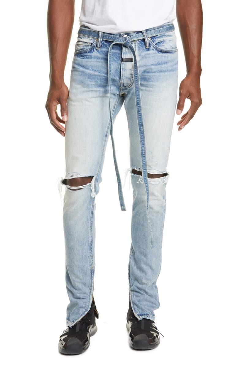 FEAR OF GOD Distressed Tie Waist Zip Cuff Jeans, Main, color, VINTAGE INDIGO