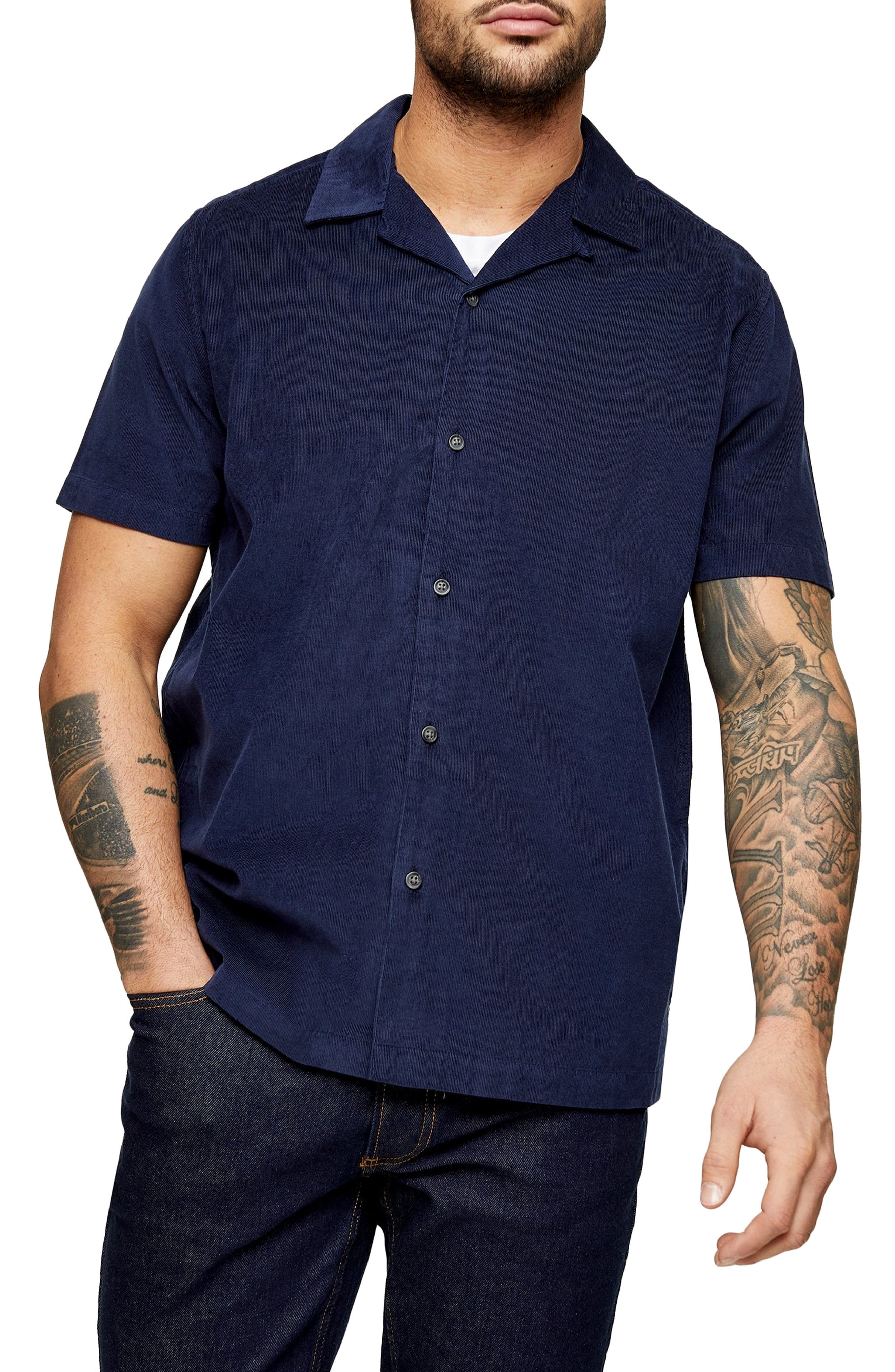 Mens Vintage Shirts – Retro Shirts Mens Topman Short Sleeve Button-Up Corduroy Camp Shirt $27.00 AT vintagedancer.com