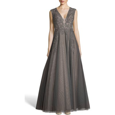 Xscape Applique Mesh Evening Dress, Grey