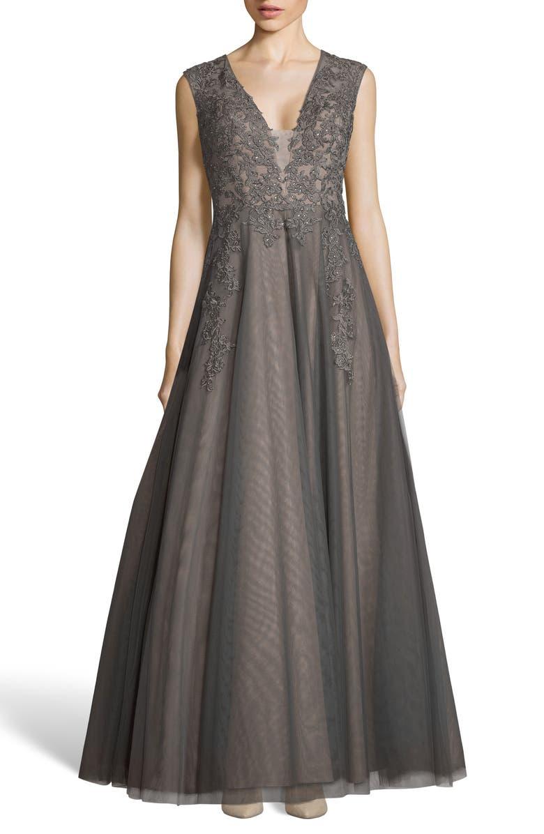 XSCAPE Appliqué Mesh Evening Dress, Main, color, 030
