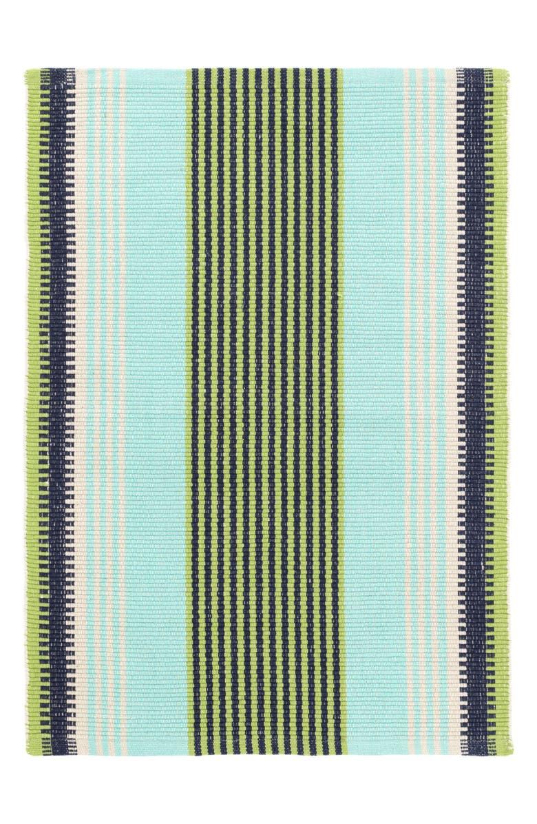 DASH & ALBERT Hollis Stripe Woven Cotton Rug, Main, color, BLUE
