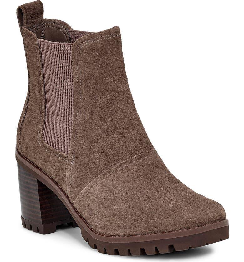 UGG<SUP>®</SUP> Hazel Waterproof Block Heel Bootie, Main, color, MOLE SUEDE