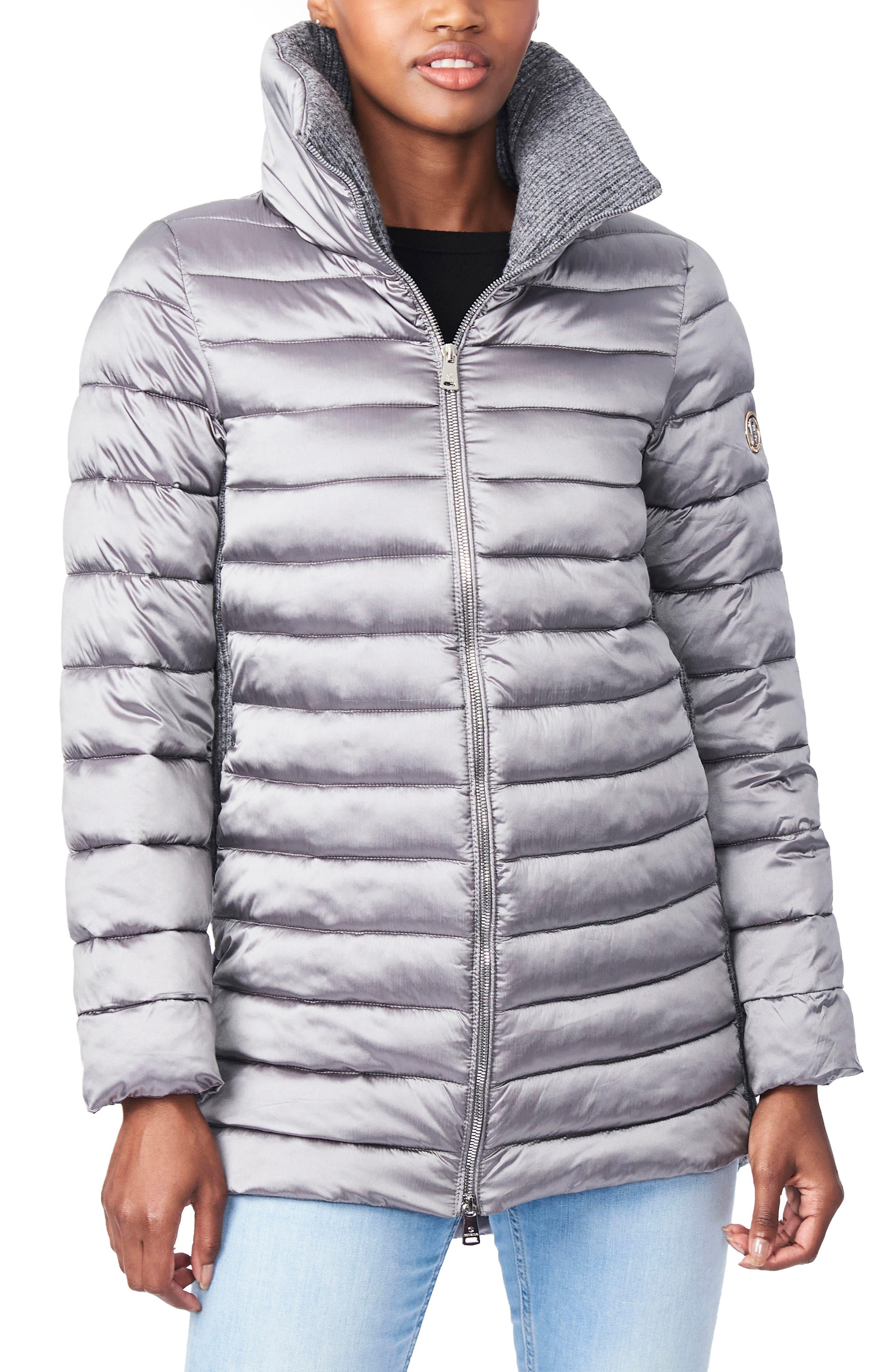 Knit Detail Ecoplume(TM) Packable Puffer Coat