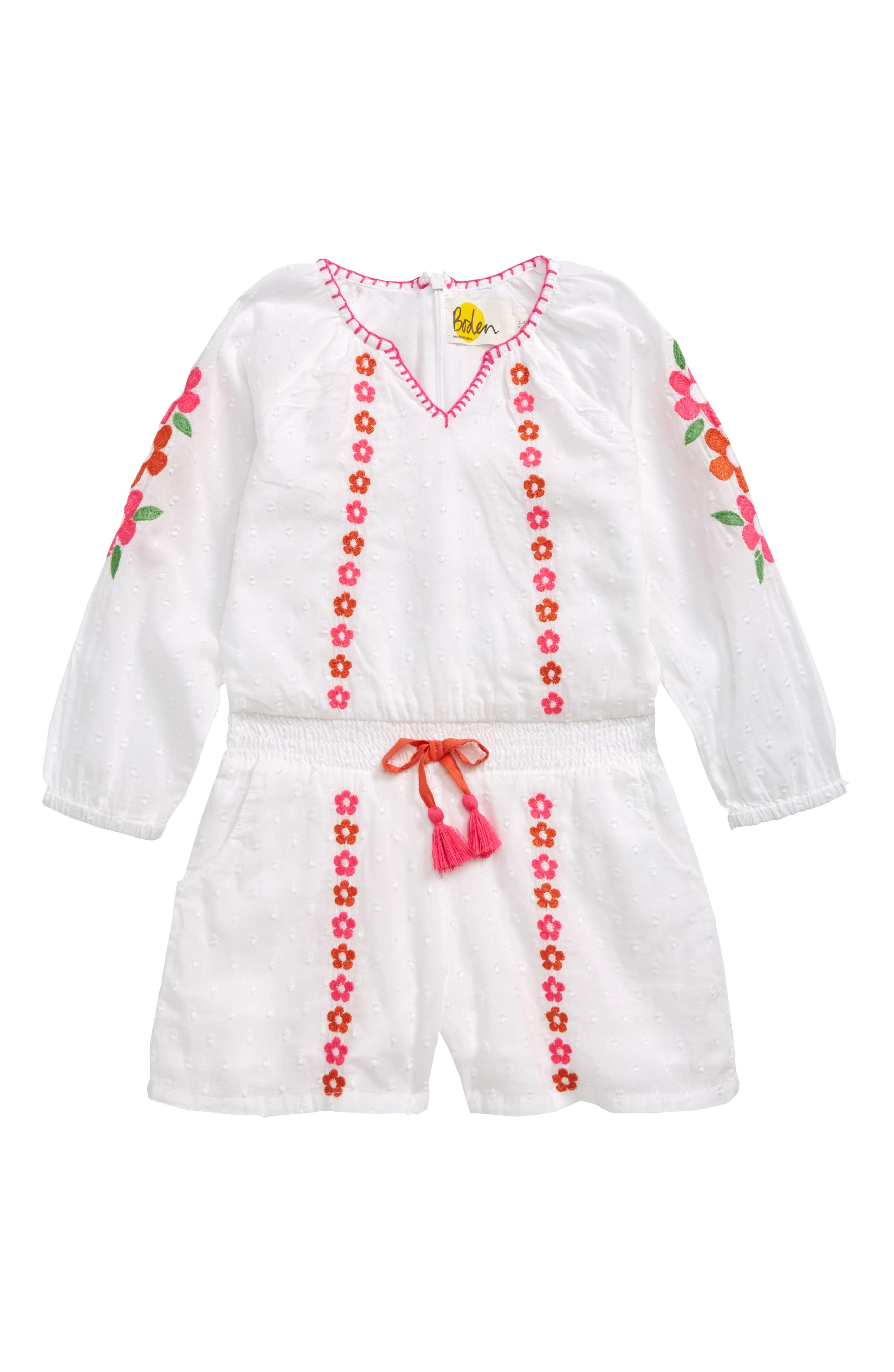 Girls Mini Boden Embroidered Woven Romper Size 56Y  White