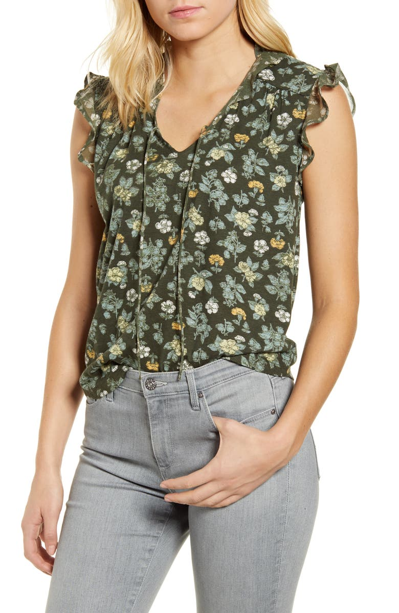 LUCKY BRAND Printed Ruffle Tank, Main, color, OLIVE MULTI