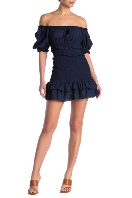 Image of Do + Be Smocked Puff Sleeve Mini Dress