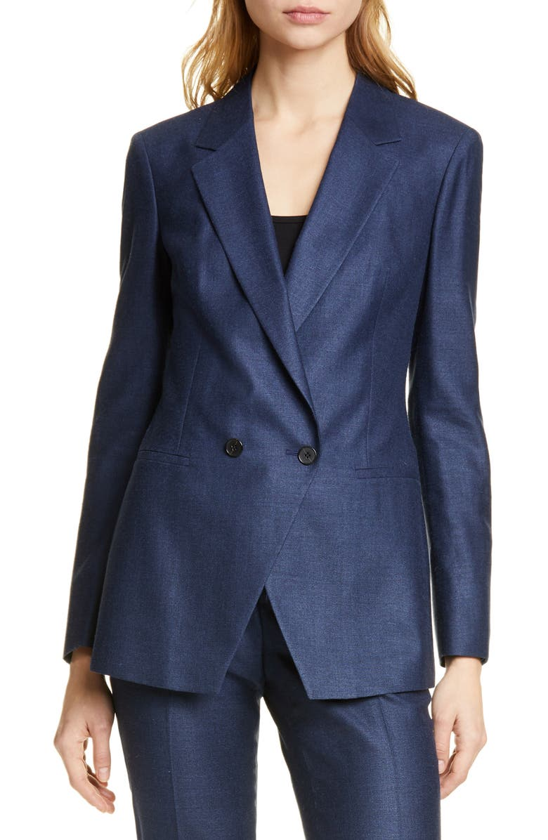 SUISTUDIO Cato Double Breasted Jacket, Main, color, BLUE