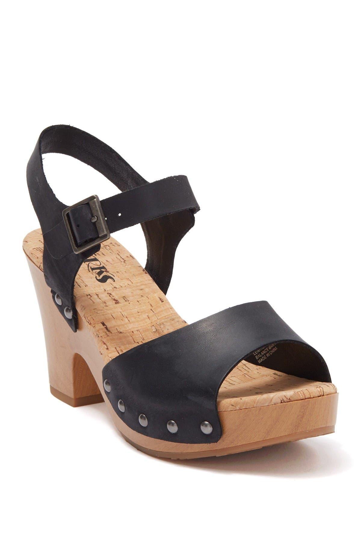Image of KORKS Brionna Leather Block Heel Platform Sandal