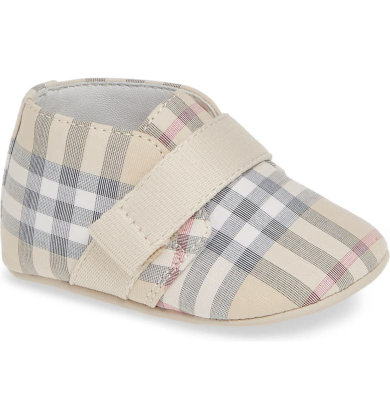 BURBERRY Charlton Check Crib Shoe, Main, color, 025