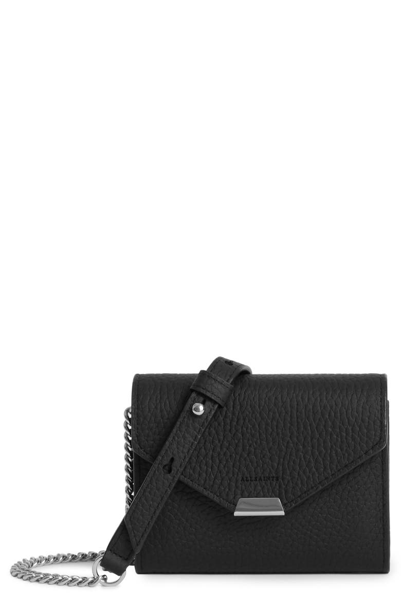 ALLSAINTS Captain Leather Card Holder on a Chain, Main, color, BLACK