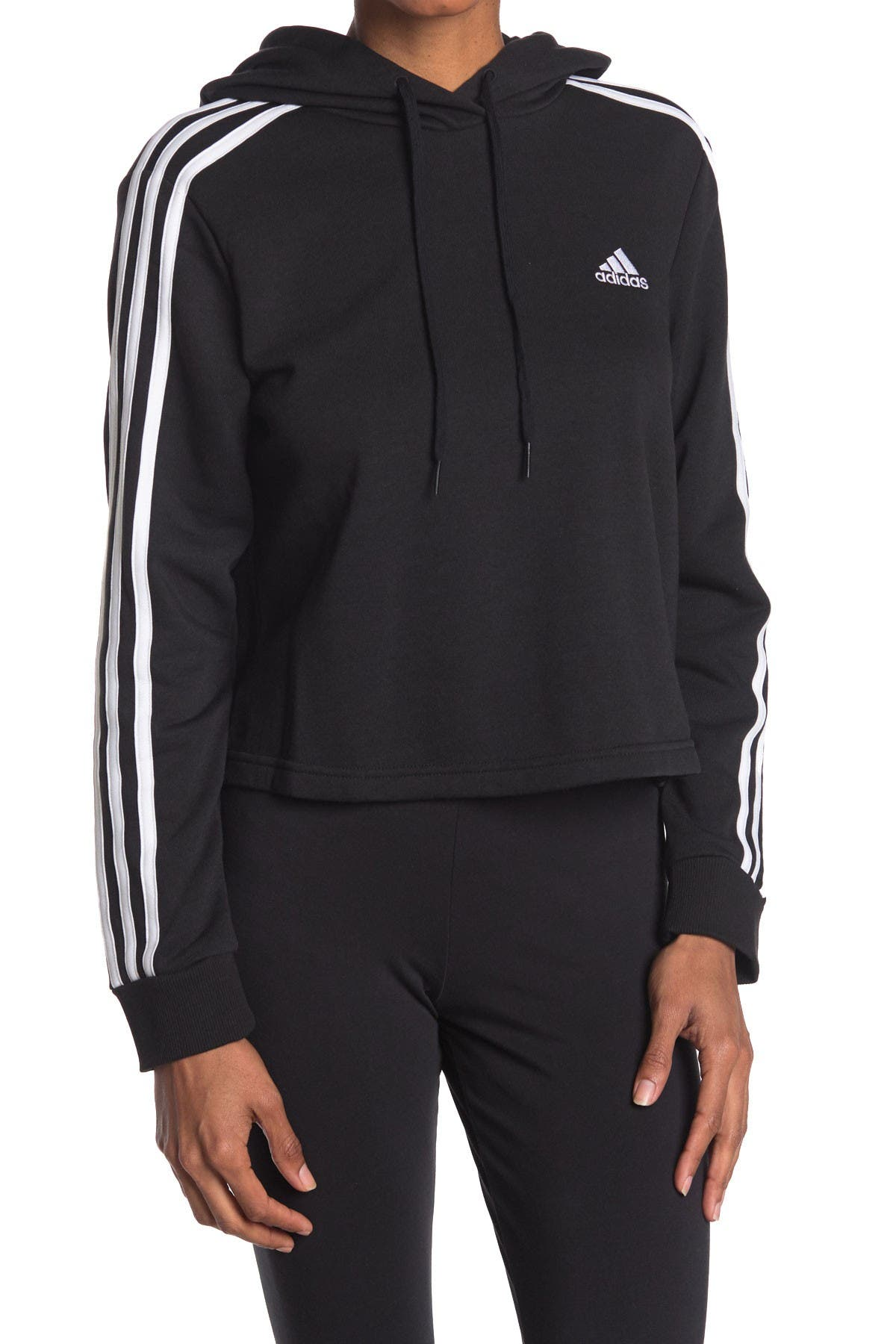 Image of adidas Essentials 3 Stripes Cropped Hoodie