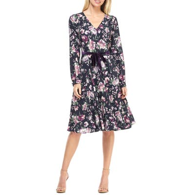 Gal Meets Glam Collection Rosalind Floral Long Sleeve Fit & Flare Dress, Blue