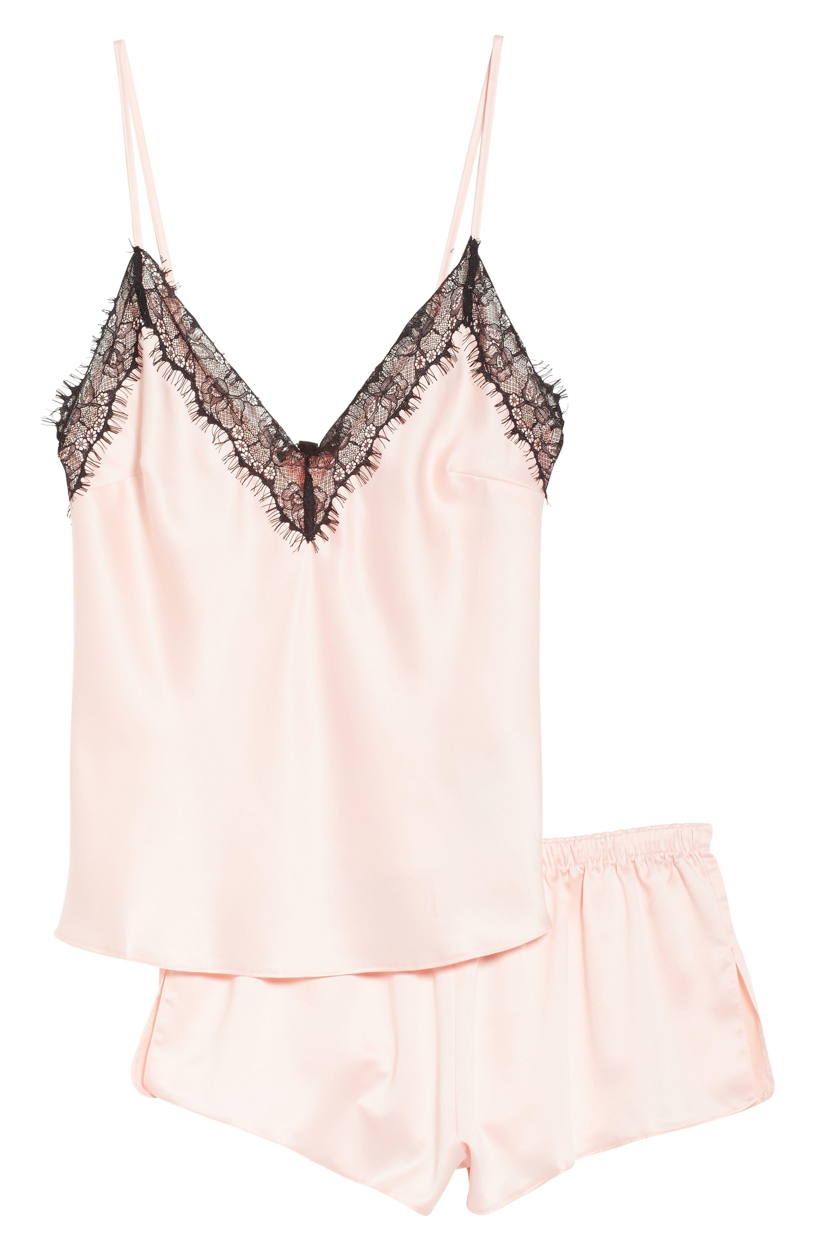 Cerise Satin Camisole & Shorts Pajamas