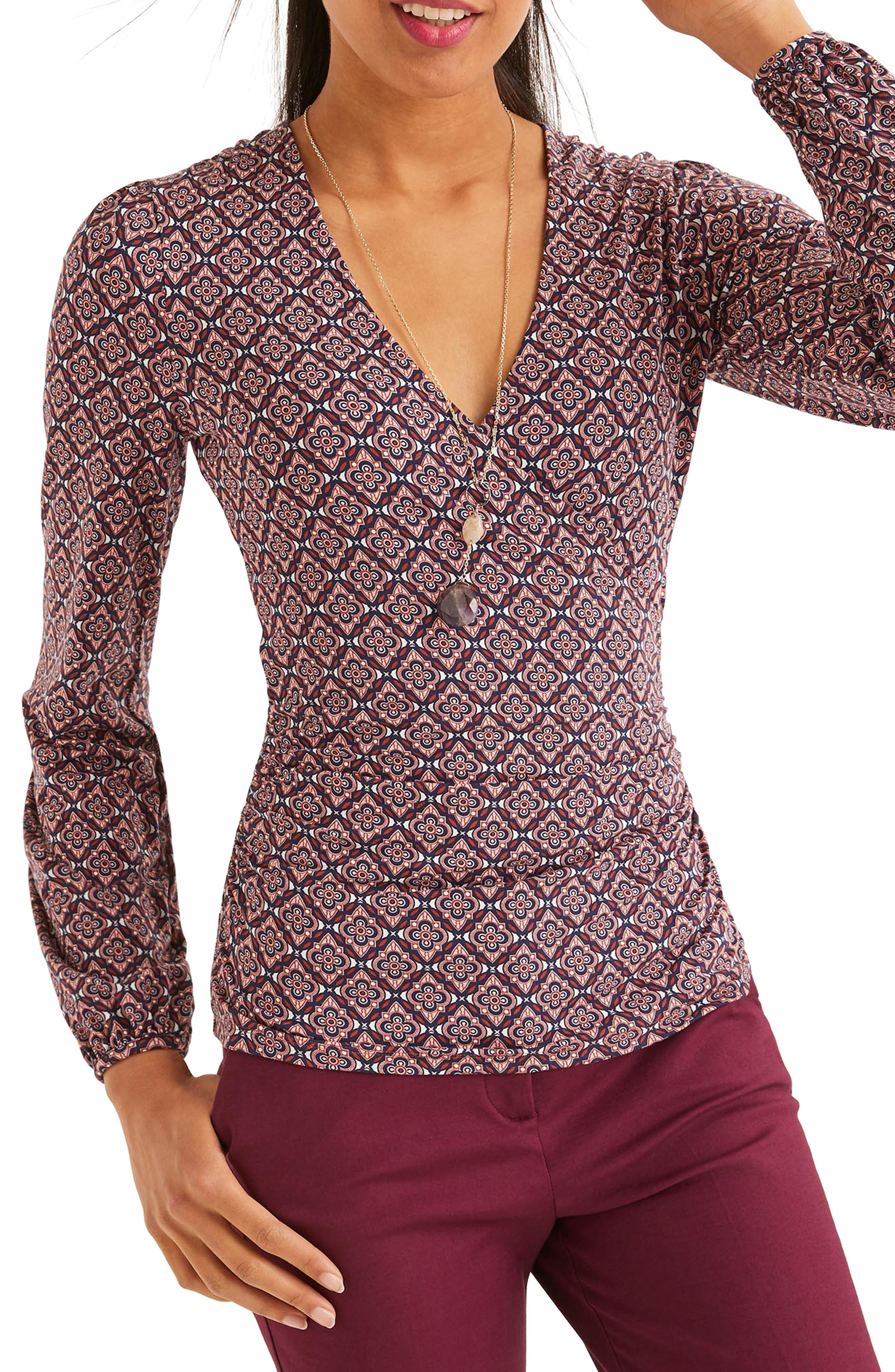 60s Shirts, T-shirt, Blouses, Hippie Shirts Womens Boden Elodie Jersey Faux Wrap Top $70.00 AT vintagedancer.com