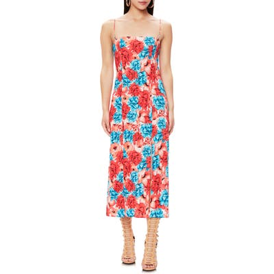 Afrm Yani Floral Slit Midi Sundress, Red