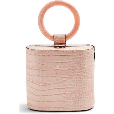 Topshop Gaze Crocodile Embossed Grab Bag - Pink