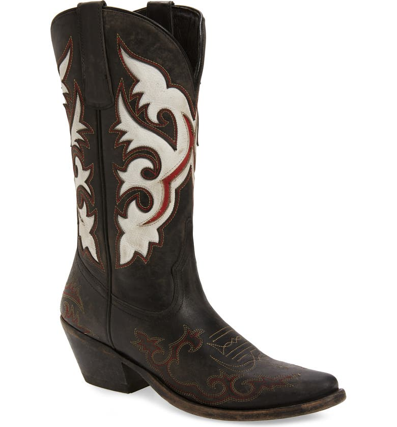 MATISSE Stampede Cowboy Boot, Main, color, BLACK LEATHER