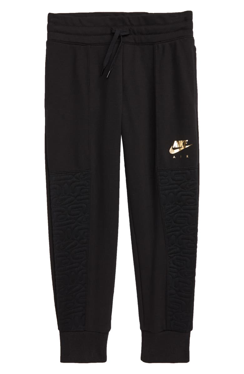 NIKE Air Quilted Fleece Sweatpants, Main, color, BLACK/ METALLIC GOLD