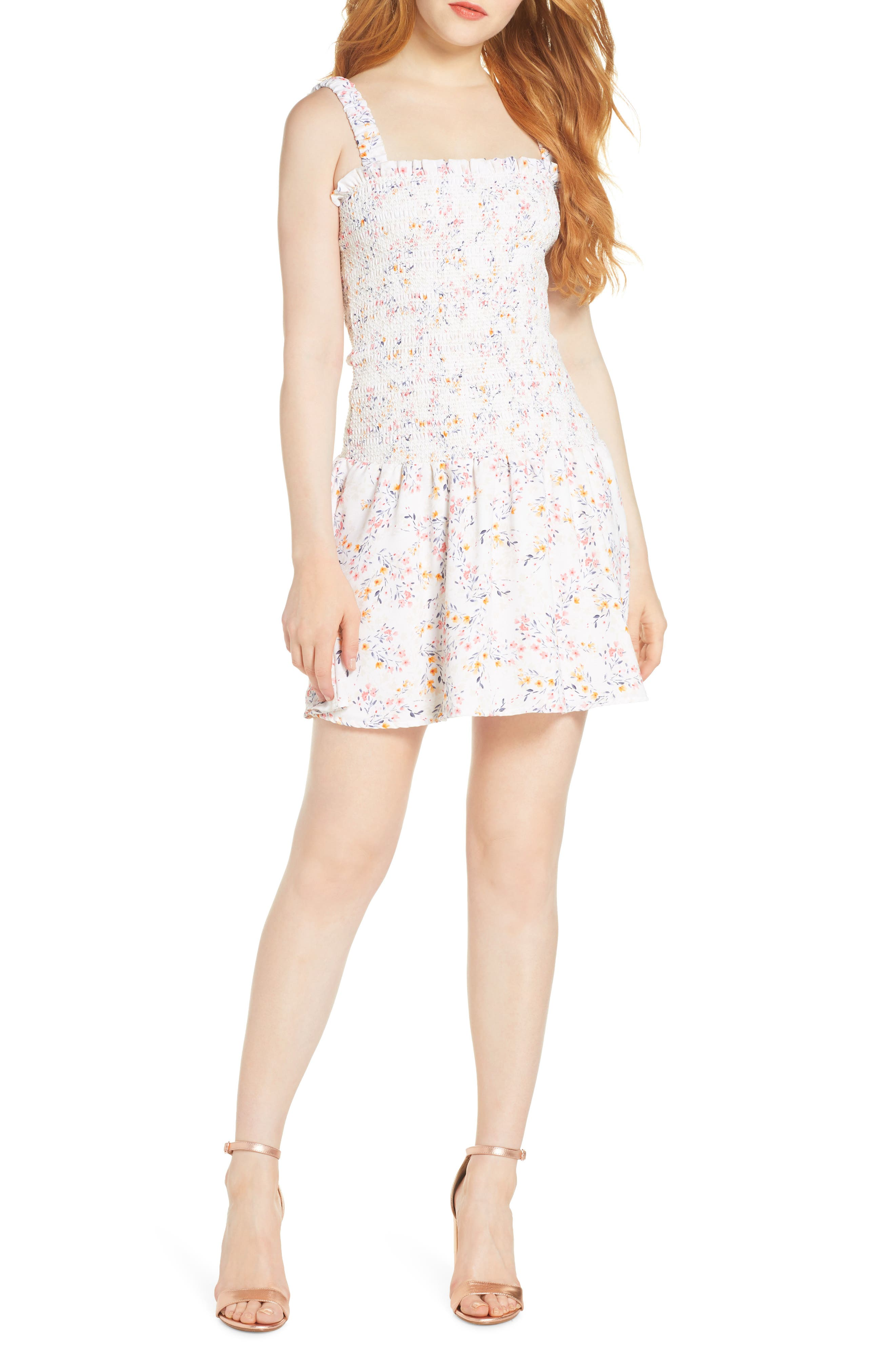 ,                             x Dress Up Buttercup Eastside Luv Floral Minidress,                             Main thumbnail 1, color,                             FIELD FLOWERS