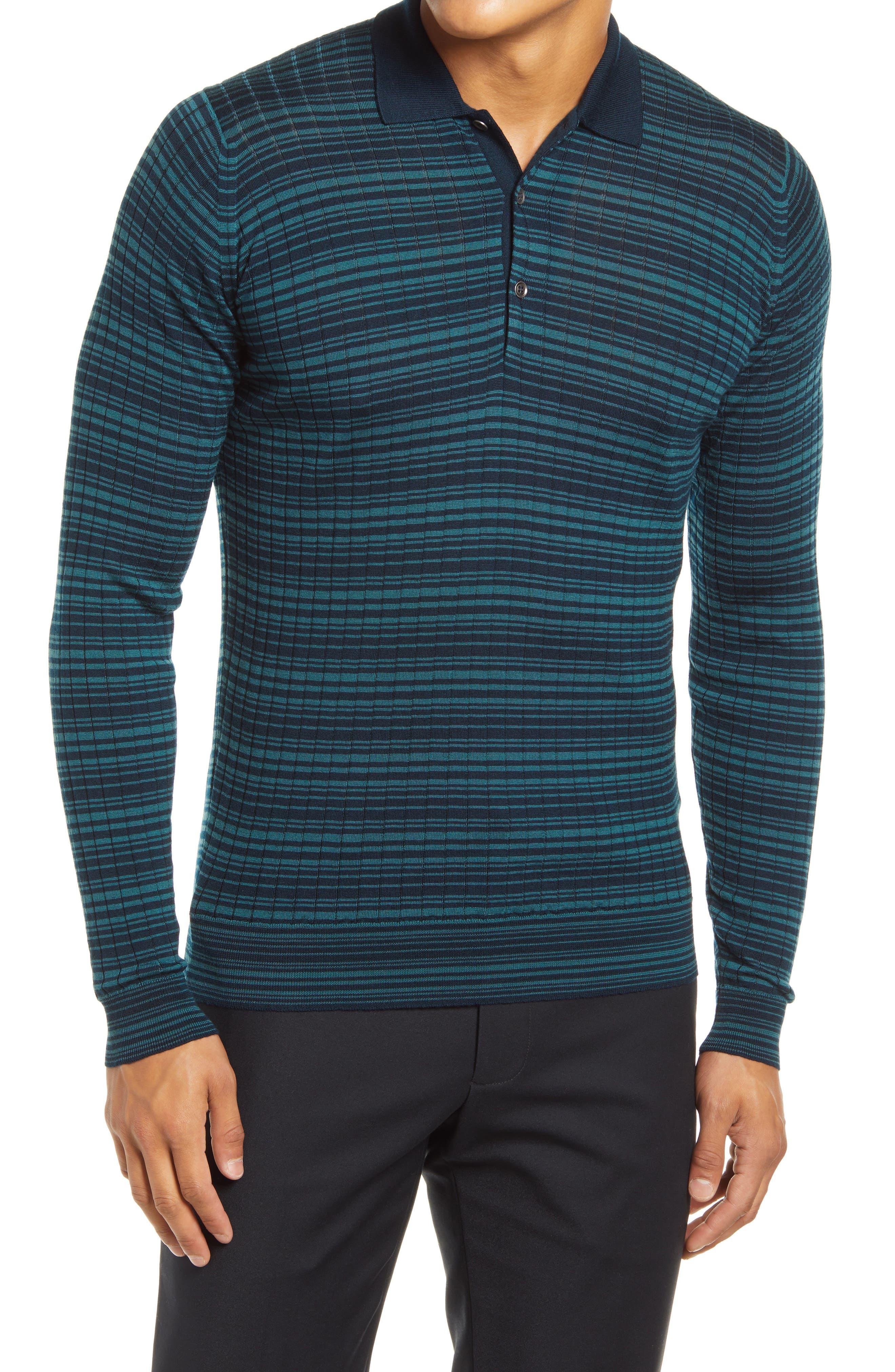 Slim Fit Stripe Long Sleeve Merino Wool Polo