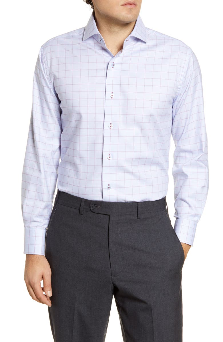 LORENZO UOMO Trim Fit Easy Iron Windowpane Dress Shirt, Main, color, 450