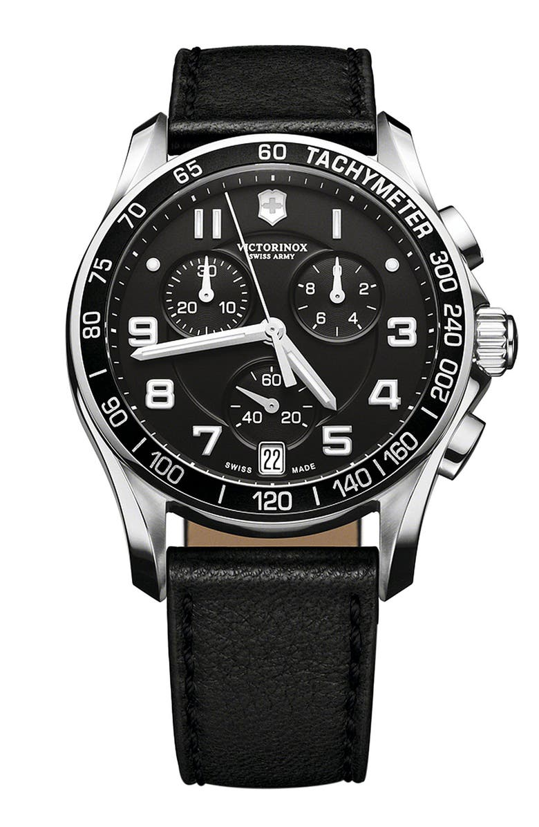 VICTORINOX SWISS ARMY<SUP>®</SUP> 'Chrono Classic' Leather Strap Watch, 41mm, Main, color, 001