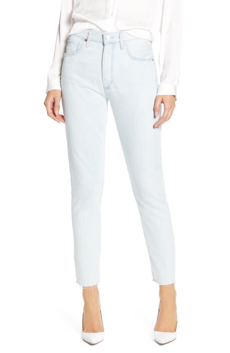 CITIZENS OF HUMANITY Liya High Waist Raw Hem Slim Jeans, Main, color, UNRAVEL