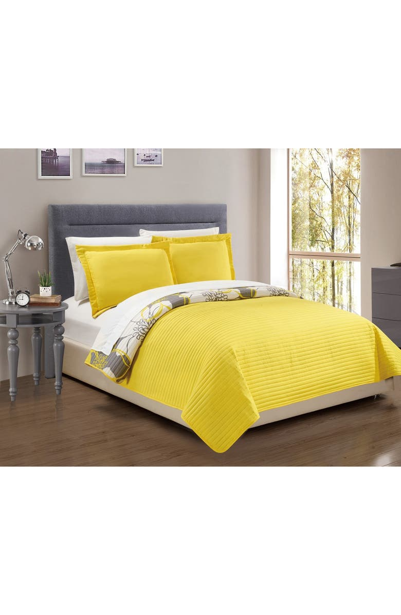 CHIC King Miles Abstract Quilt Set - Yellow, Main, color, YELLOW