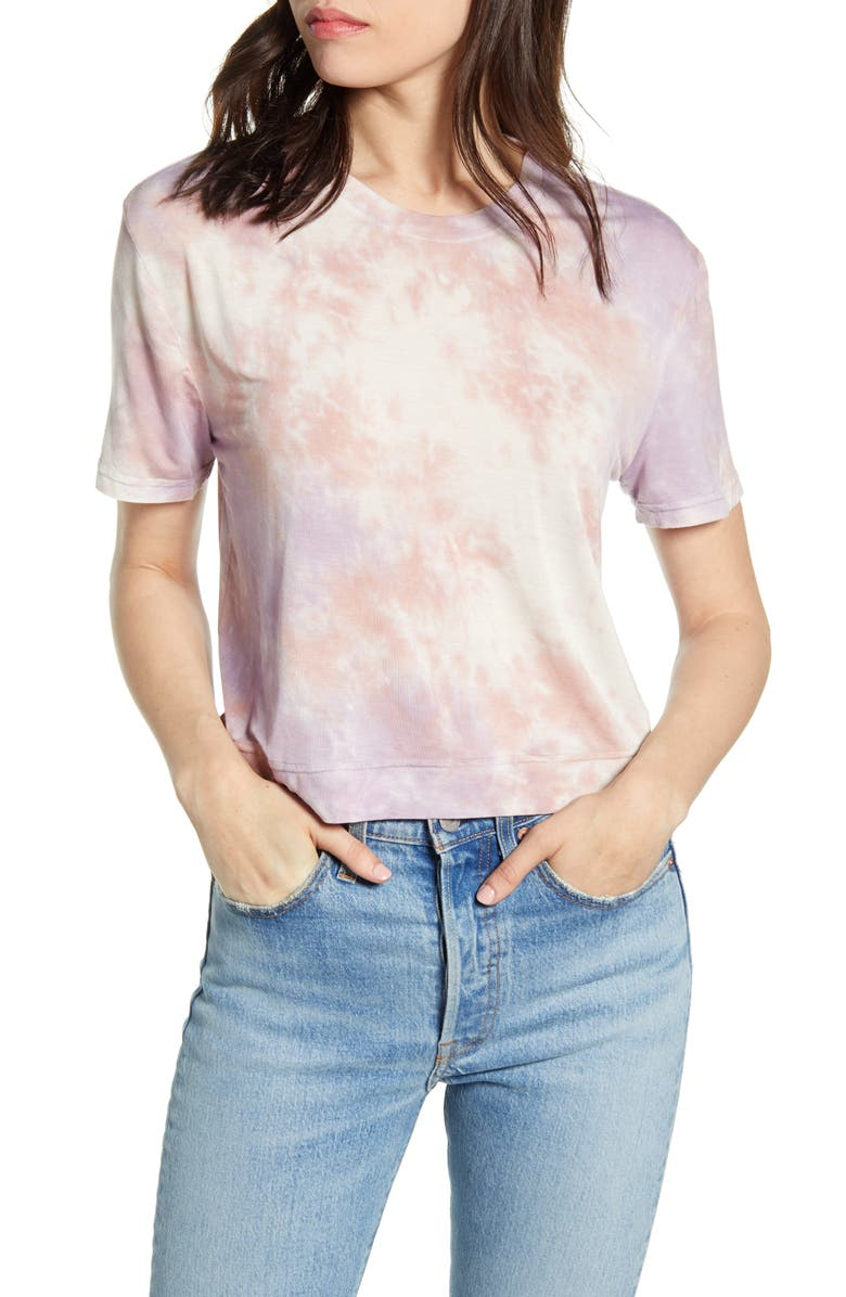 SPLENDID Sunset Cloud Tie Dye Crop Tee, Main, color, 405