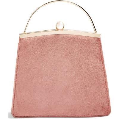Topshop Garland Velvet Frame Bag - Beige