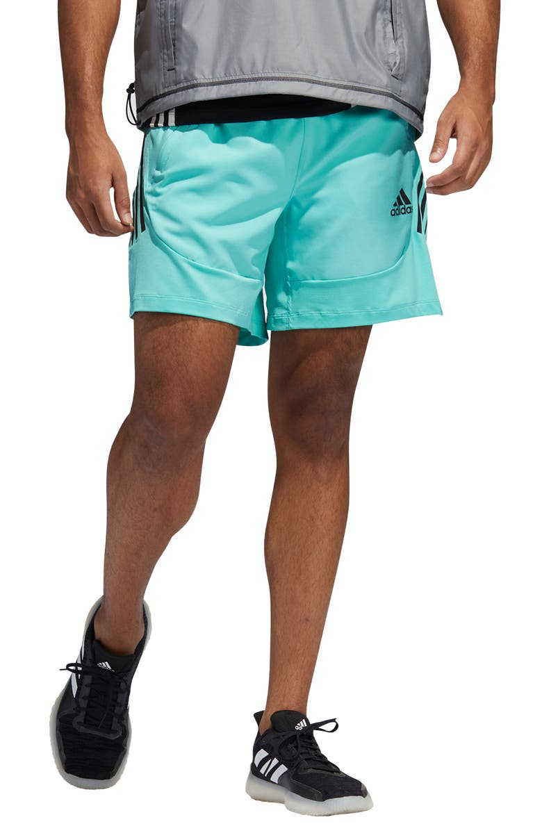 ADIDAS Aero 3-Stripe Shorts, Main, color, ACID MINT
