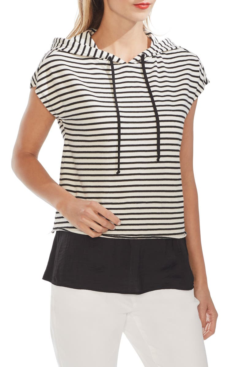 VINCE CAMUTO Layered Look Stripe Hoodie, Main, color, RICH BLACK