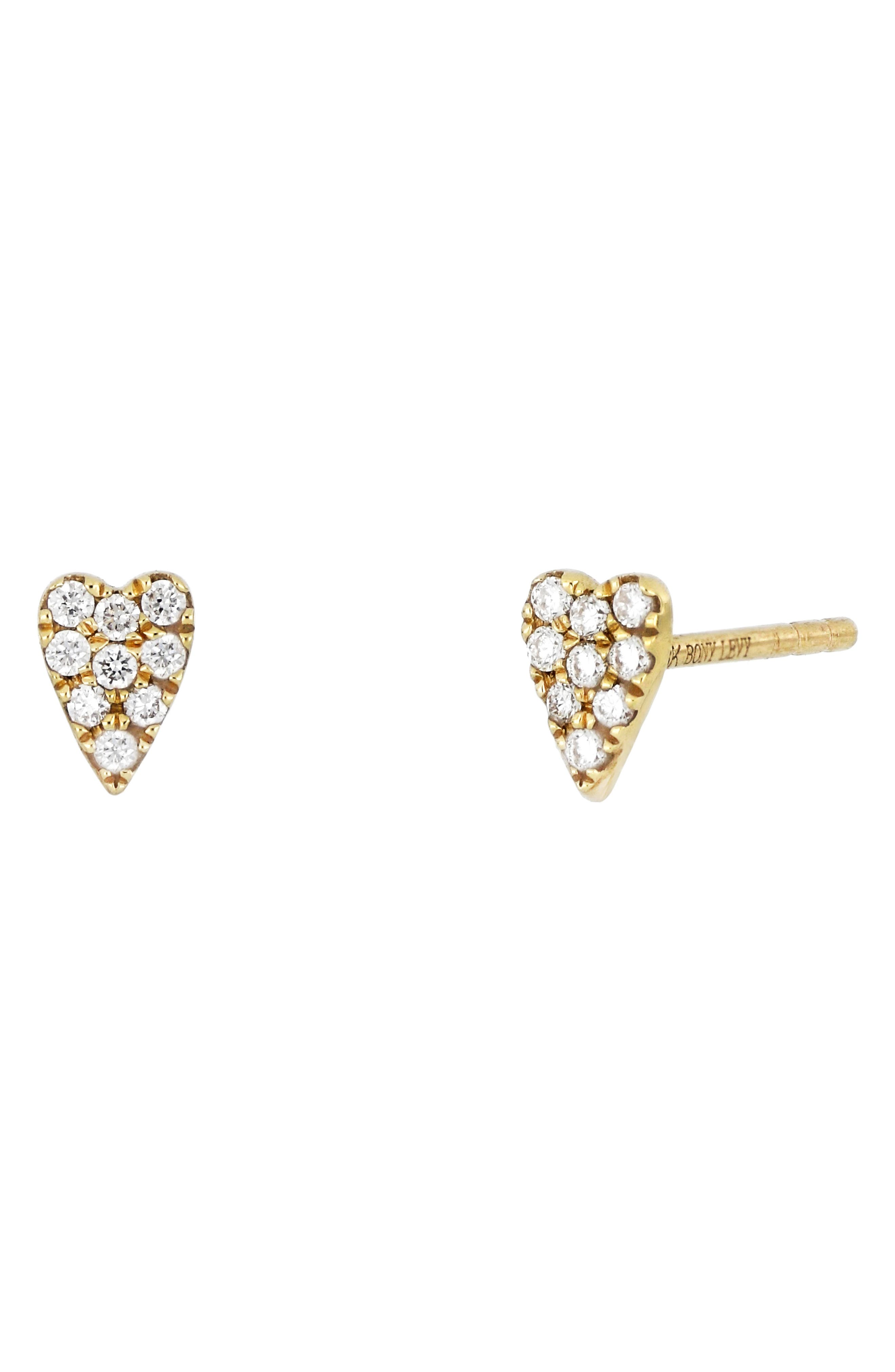 Pave diamonds illuminate these elongated 18-karat-gold heart studs that make a sweet everyday accessory. Style Name: Bony Levy Icons Diamond Heart Stud Earrings (Nordstrom Exclusive). Style Number: 6108304. Available in stores.