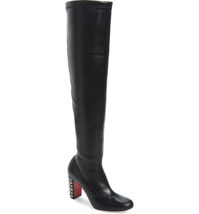 CHRISTIAN LOUBOUTIN Study Stretch Over the Knee Boot, Main, color, BLACK