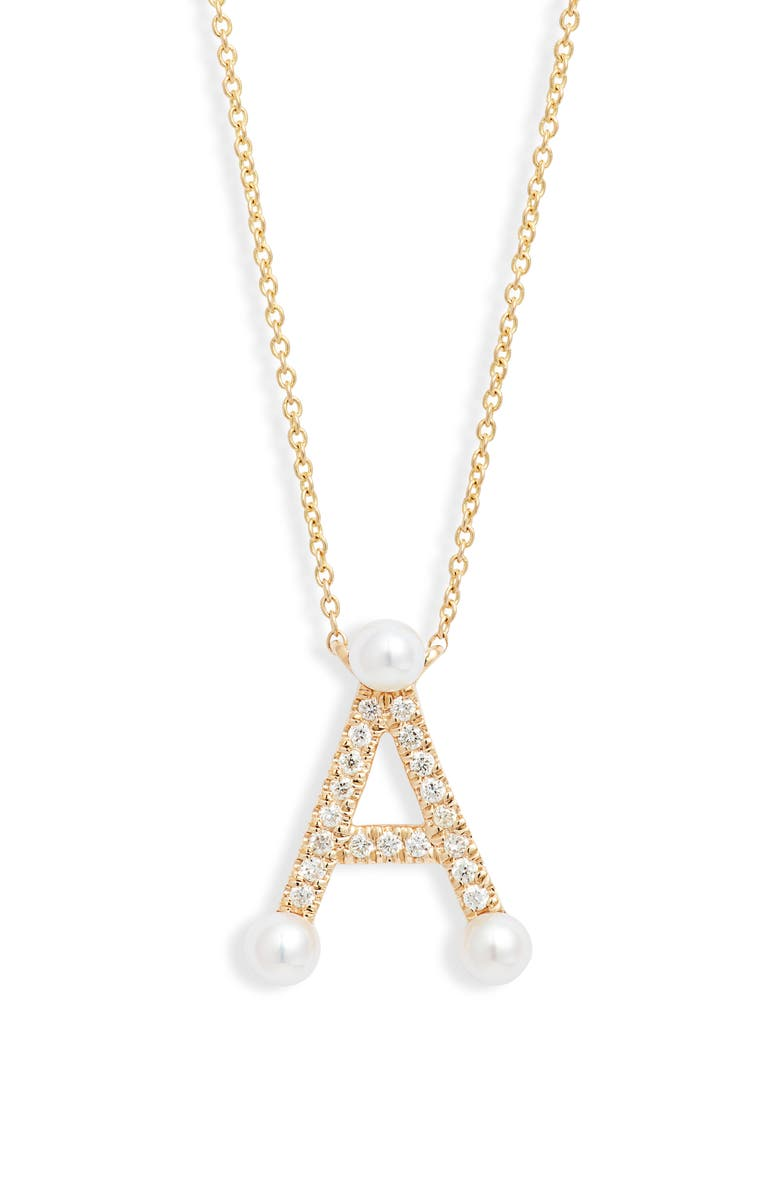 DANA REBECCA DESIGNS Pearl Ivy Initial Necklace, Main, color, YELLOW GOLD- A