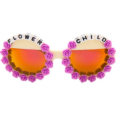 Rad + Refined Flower Child Mirrored Round Sunglasses - Purple/ Cream
