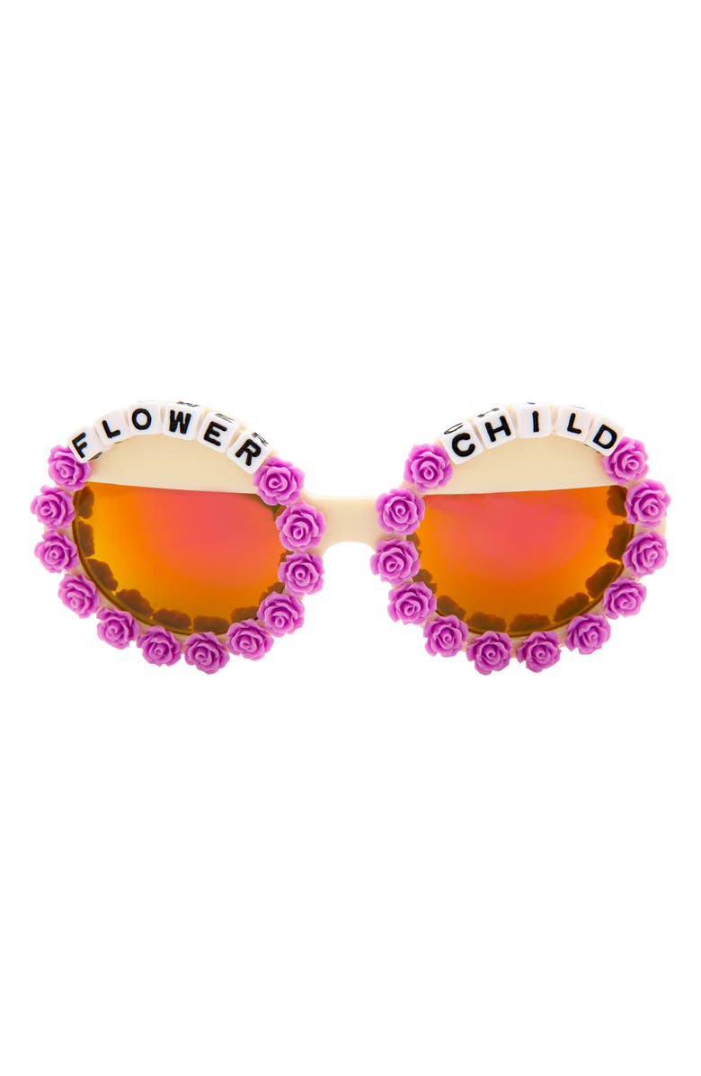 RAD + REFINED Flower Child Mirrored Round Sunglasses, Main, color, PURPLE/ CREAM