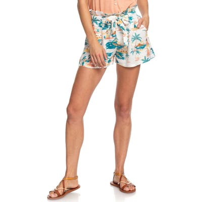 Roxy The South Side Print Paperbag Shorts, White