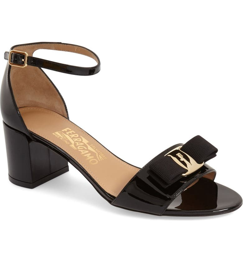 SALVATORE FERRAGAMO Gavina Block Heel Bow Sandal, Main, color, BLACK PATENT