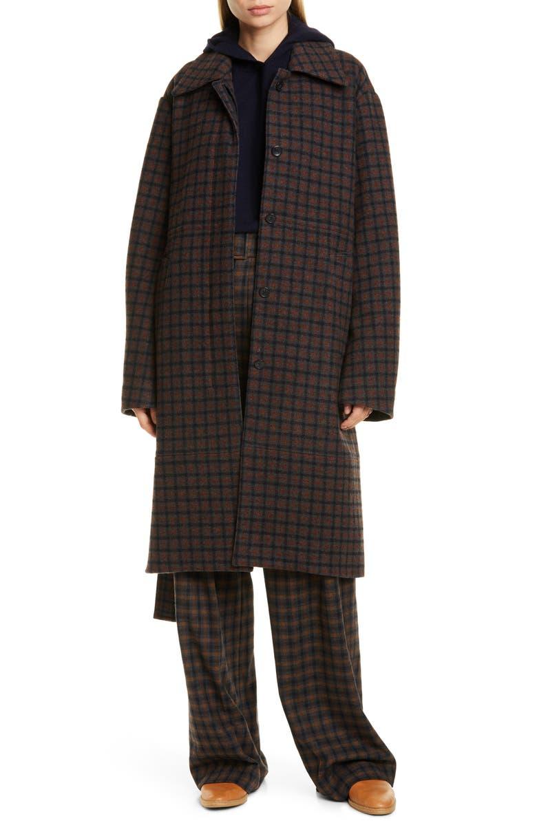 VINCE Check Wool Blend Long Coat, Main, color, MAHOGANY PLAID