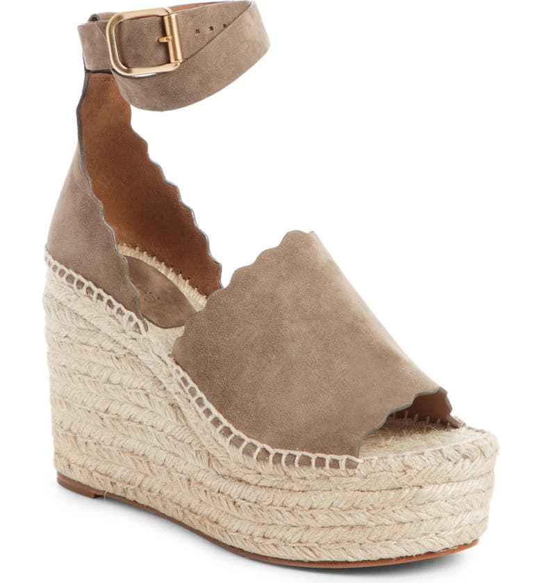 CHLOÉ Lauren Espadrille Wedge Sandal, Main, color, MAPLE BROWN SUEDE