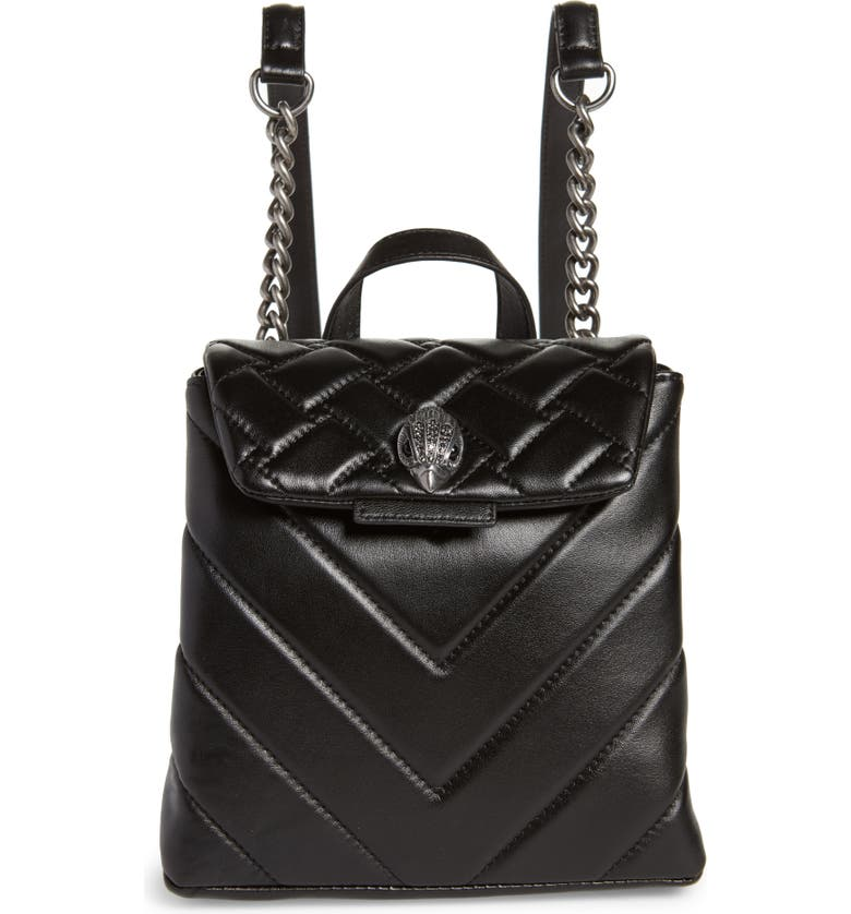 KURT GEIGER LONDON Small Kensington Leather Backpack, Main, color, BLACK