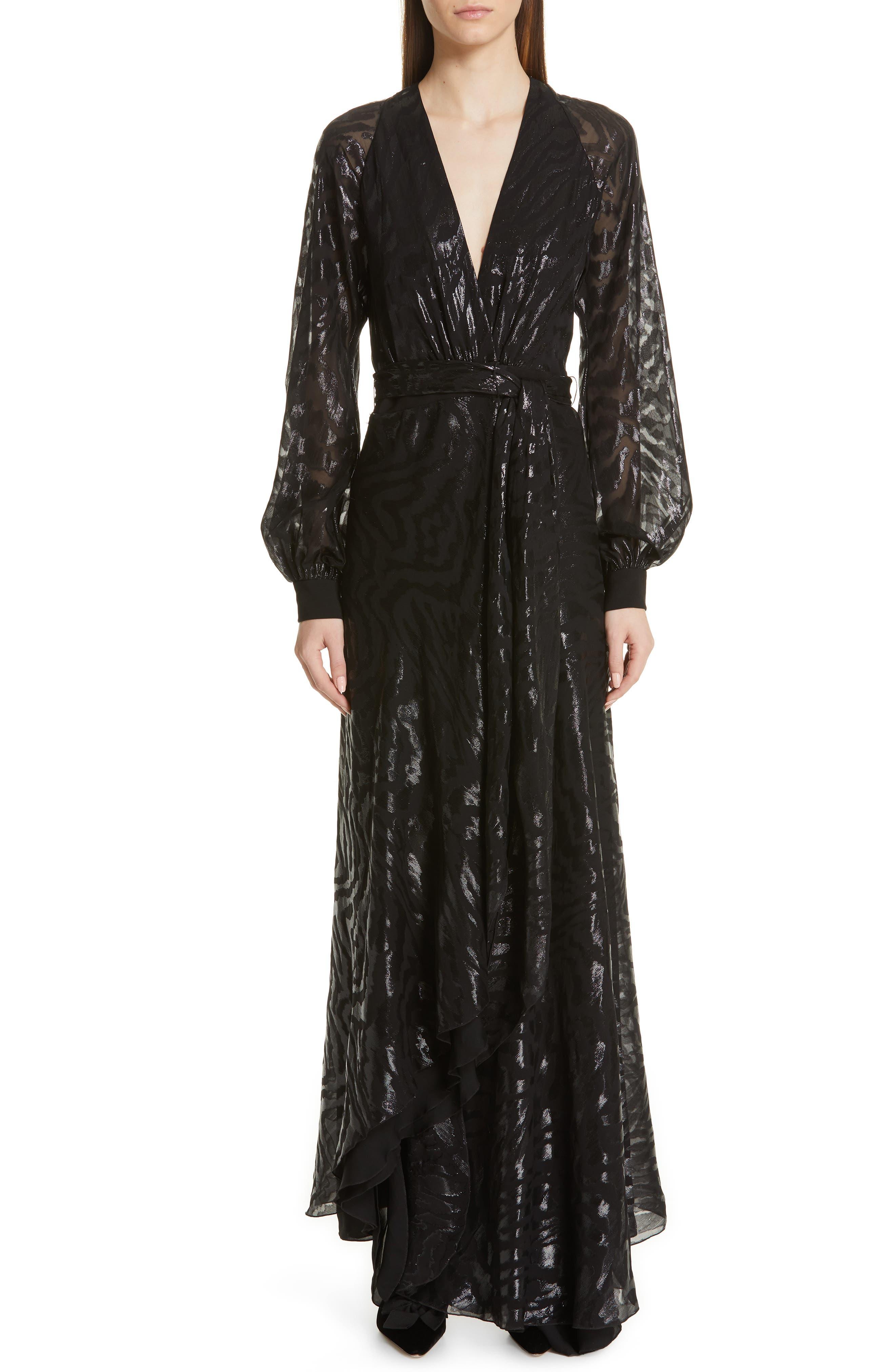 Haney Metallic Silk Long Sleeve Evening Dress, Black